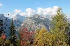 Осенний взгляд к горным вершинам karwendel Стоковое Изображение