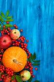 Осенний натюрморт с тыквами, яблоками и rowanberry Стоковое фото RF