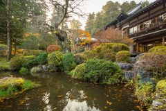 Осенний пейзаж национального парка Nikko Стоковое Фото