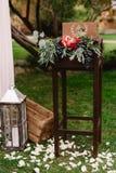 Осенний состав свадьбы роз, яблок, виноградины и pomergranate Стоковые Фотографии RF