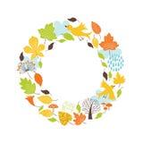 Осенняя круглая рамка Стоковые Фотографии RF