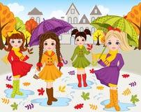 Осень вектора установленная с красивыми девушками иллюстрация вектора