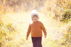 Осень внешняя, девушка малыша идя в поле, усмехаясь Стоковое фото RF