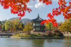 Осень дворца Gyeongbokgung в Сеуле, Корее Стоковые Изображения RF