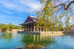 Осень дворца Gyeongbokgung в Сеуле, Корее Стоковые Фотографии RF