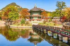 Осень дворца Gyeongbokgung в Сеуле, Корее Стоковые Изображения