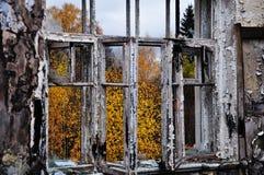 Осень в ожога окне вне Стоковое фото RF