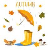 Осень в плакате леса с красными wellingtons зонтика и иллюстрацией шаржа предпосылки хоботов деревьев ежа Стоковые Изображения