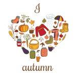 Осень влюбленности карточки i вектора Иллюстрация вектора