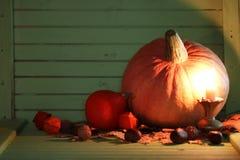 Осень деревянного стола тыквы Стоковое Фото