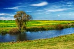 Осень живописное небо над рекой Стоковые Фото