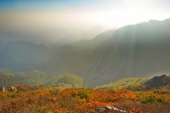 Осень захода солнца Rolling Hills и долины Стоковые Фотографии RF
