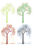 Осень, зима, весна, дерево лета, комплект вектора иллюстрация вектора