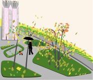 Осень идя во двор города иллюстрация вектора