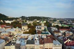 Осень Львов от крыши, Украина Стоковые Фотографии RF