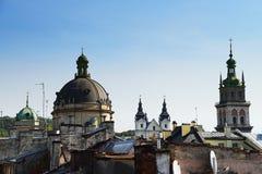 Осень Львов от крыши, Украина Стоковое фото RF