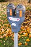 Осень монетной щели автопарковочного счетчика городская Стоковые Изображения