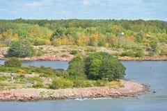 Осень Остров в архипелаге островов Aland стоковое изображение