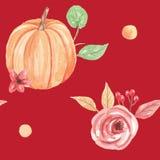 Осень падения повторения картины цветка тыквы Watercolour безшовной красной покрашенная рукой Стоковые Фото