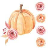 Осень падения повторения картины цветка тыкв акварели безшовной покрашенная рукой Стоковая Фотография RF