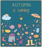 Осень приходит Нарисованная рукой карточка вектора Стоковая Фотография