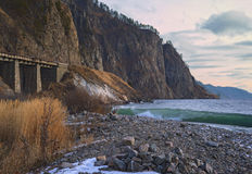 Железная дорога Сircum-Байкала в ноябрь стоковое фото rf