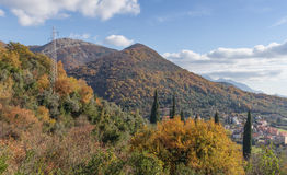 Осень украсила горы Черногория Стоковое Фото