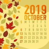 Осень/шаблон 2019 календаря месяцев падения Стоковое фото RF