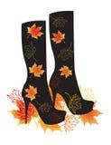 осень boots вектор листьев иллюстрации Стоковое Изображение