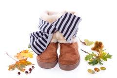 осень boots шерсть теплая Стоковые Изображения