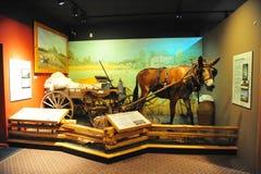 Осел и тележка тянуть экспонат хлопка на музее оболочки в северной Миссиссипи стоковое изображение rf