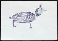 Осиплые собака или волк чертеж s ребенка иллюстрация штока