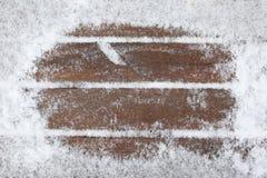 доски покрыли снежок деревянный Стоковое Изображение