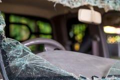 Осколки стекла автомобиля от аварии Стоковое Изображение