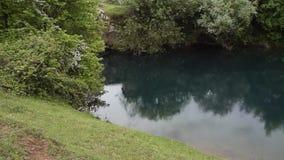 Ослабляя взгляд красивой албанской природы Светлый дождь падает в естественное озеро окруженное зеленой флорой акции видеоматериалы