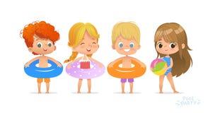 Ослабьте международную партию бассейна детей Рыжеволосый характер мальчика с голубым кольцом на морском курорте потехи Маленькая  иллюстрация вектора