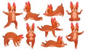 Ослабьте собаку йоги Животная тренировка фитнеса спорта, собаки делая здоровые расслабляющие тренировку и вектор catroon раздумья иллюстрация штока