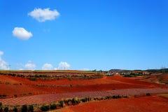 Ослеплять Dongchuan красная живописная местность почвы стоковые изображения rf