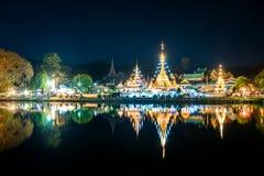 Осмотрите висок Chong Klang и Chong Kham ландшафта в Mae Ho Стоковое Изображение RF
