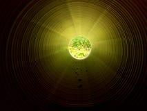 Осмотрите внутренность длинной пластичной трубки под землей Красочная ребристая стена пластичной трубы, зеленого света Стоковое Изображение