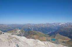 Осмотрите от Weissfluhgipfel 2 843m в ¼ Давос Graubà nden Швейцария в лете Стоковая Фотография RF