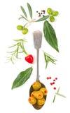 Осмотрите сверху оливок красного перца заполненных Стоковая Фотография RF