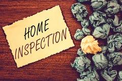 Осмотр дома текста сочинительства слова Концепция дела для рассмотрения состояния дома связала свойство стоковые фотографии rf