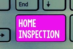 Осмотр дома текста сочинительства слова Концепция дела для рассмотрения состояния дома связала свойство стоковые изображения rf