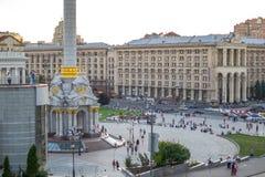 Основание стелы независимости в центре Киева Украина Стоковые Изображения RF