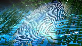 основанное биометрическое идентификация фингерпринта иллюстрация штока