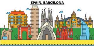 основа одно Испания corrida barcelona арен Архитектура горизонта города editable иллюстрация штока