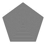 ОСНОВНОЕ РЕГУЛЯРН ГЕОМЕТРИЧЕСКОЕ Графические элементы ПАРАЛЛЕЛЬНЫЕ ЛИНИИ С ПЕНТАГОНОМ иллюстрация вектора