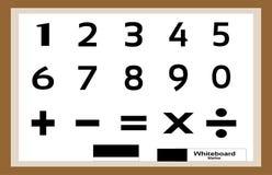 Основные образовани-номера и знаки на белой доске стоковое изображение rf