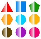 Основные формы с блеском комплект 9 значков формы иллюстрация вектора